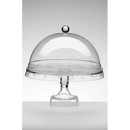 Cake stand<br>transparent dome clear<br>H: 29, W: 26