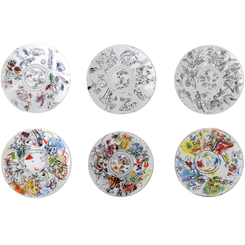 Set of 6 dessert plates<br>D: 21cm<br>Marc Chagall