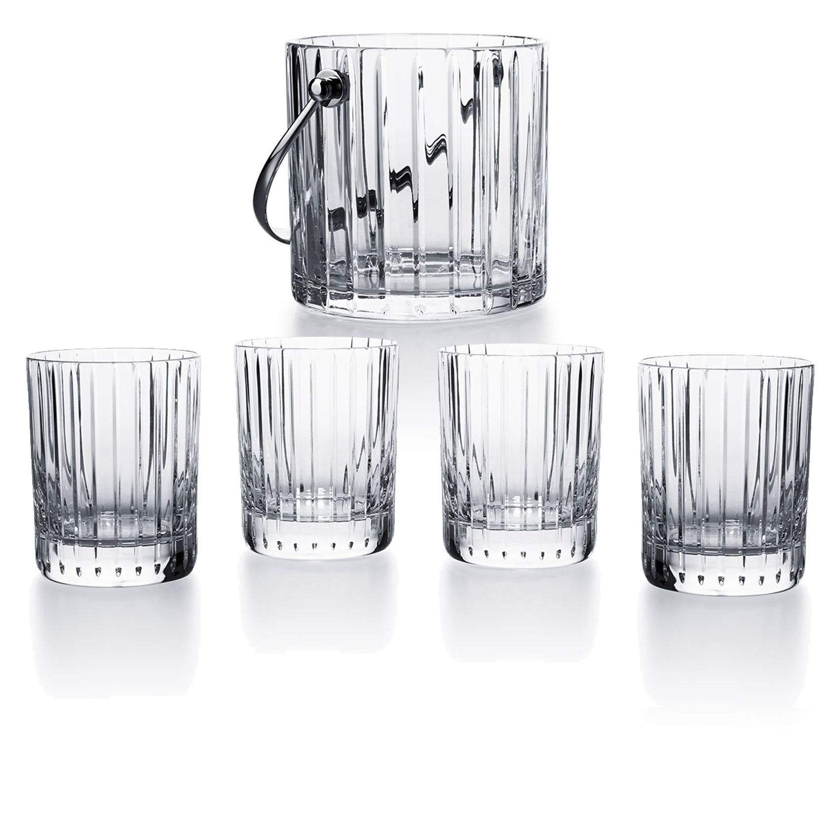 Set of 4 tumblers + crystal ice bucket<br>On the Rocks<br>Harmonie