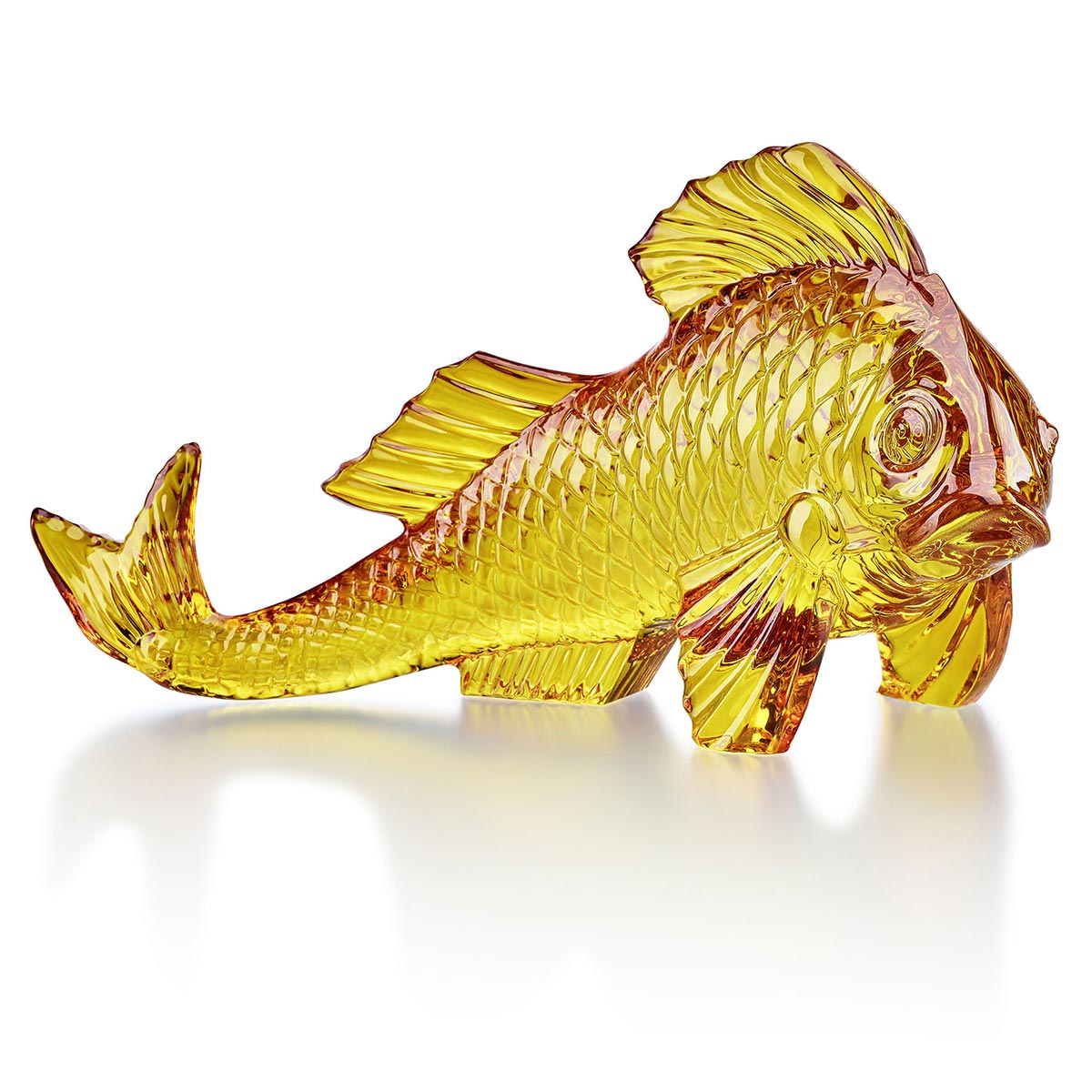 Poisson carpe ambre<br>H: 15.5cm, L: 30cm<br>Carpe