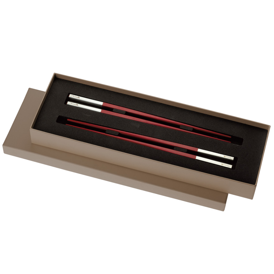 Japanese chopsticks set of 2 pairs<br>Uni red
