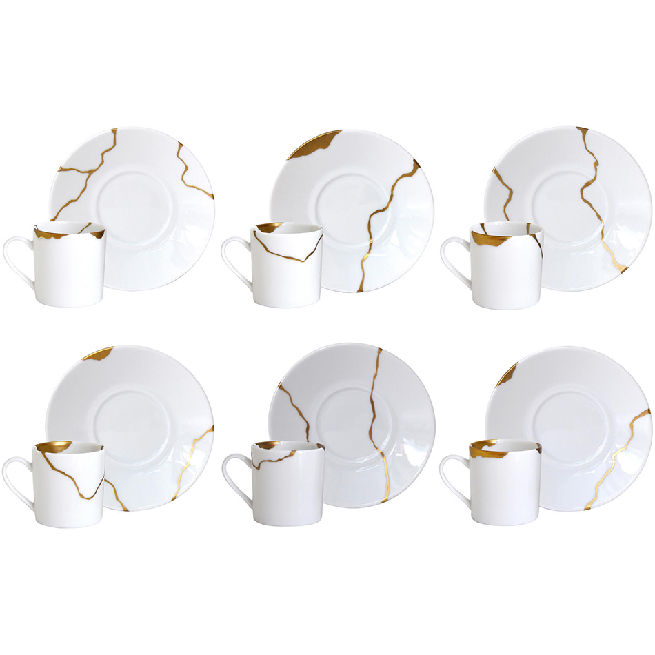 Set of 6 assorted coffee cups & saucers<br>Kintsugi