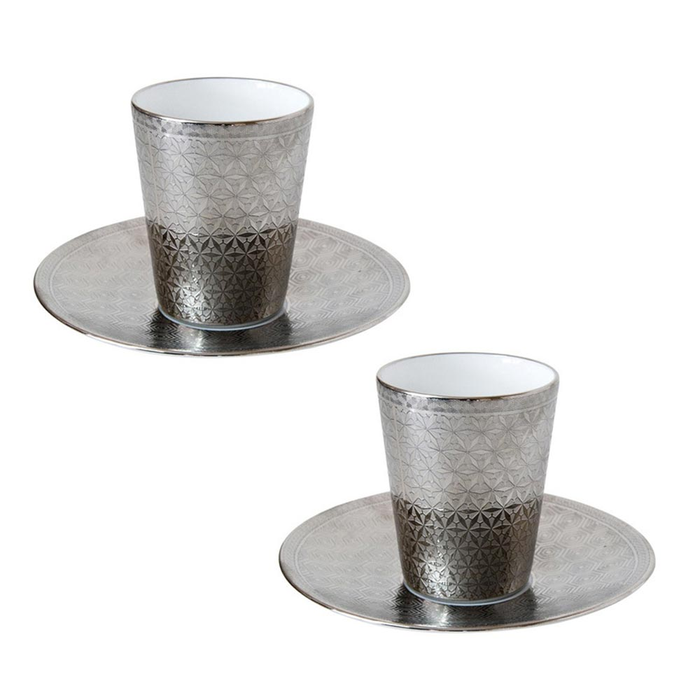 Set of 2 espresso cups and saucers<br>7cl<br>Divine